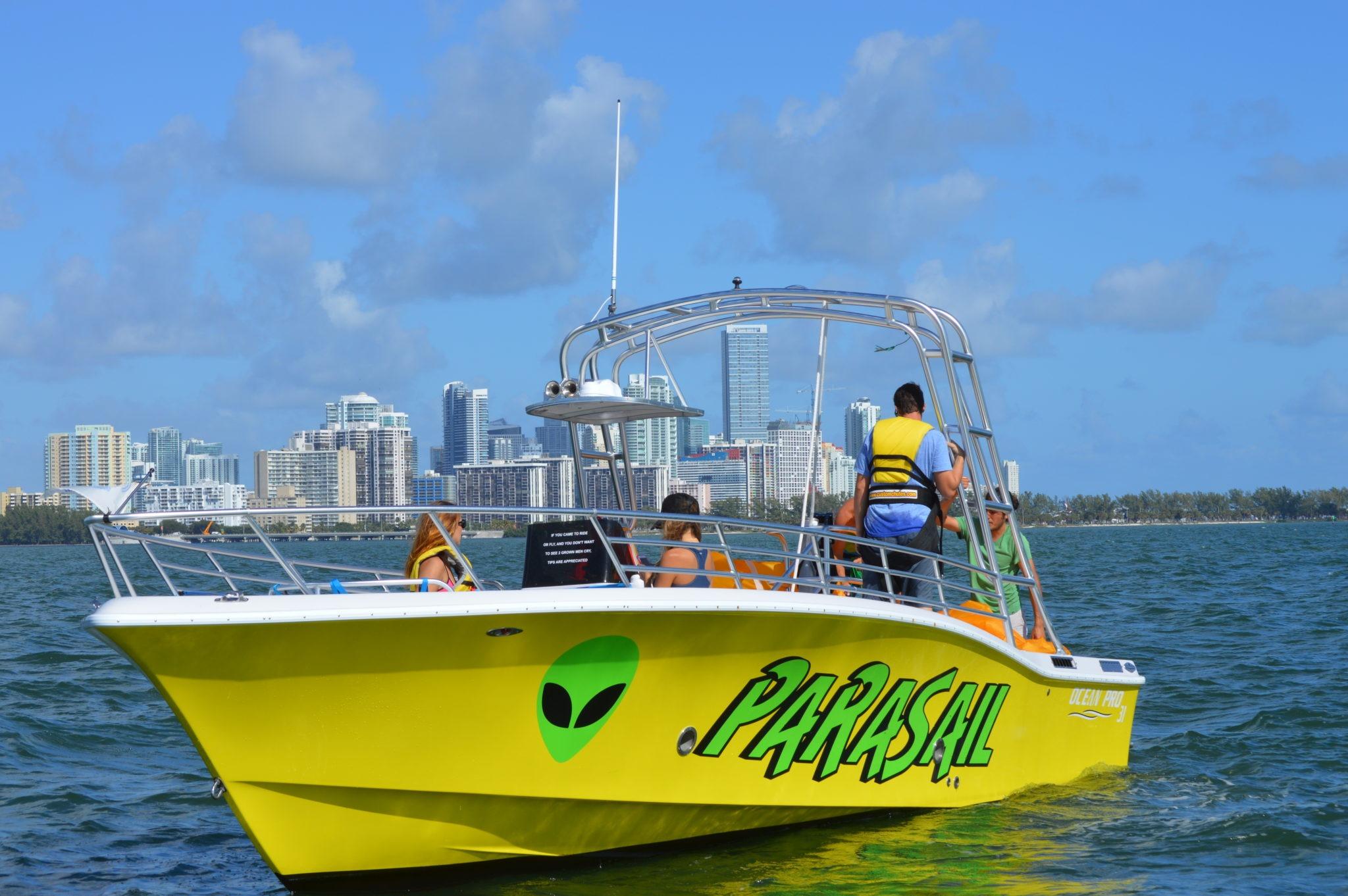 Miami Parasail Boat idling in Marina