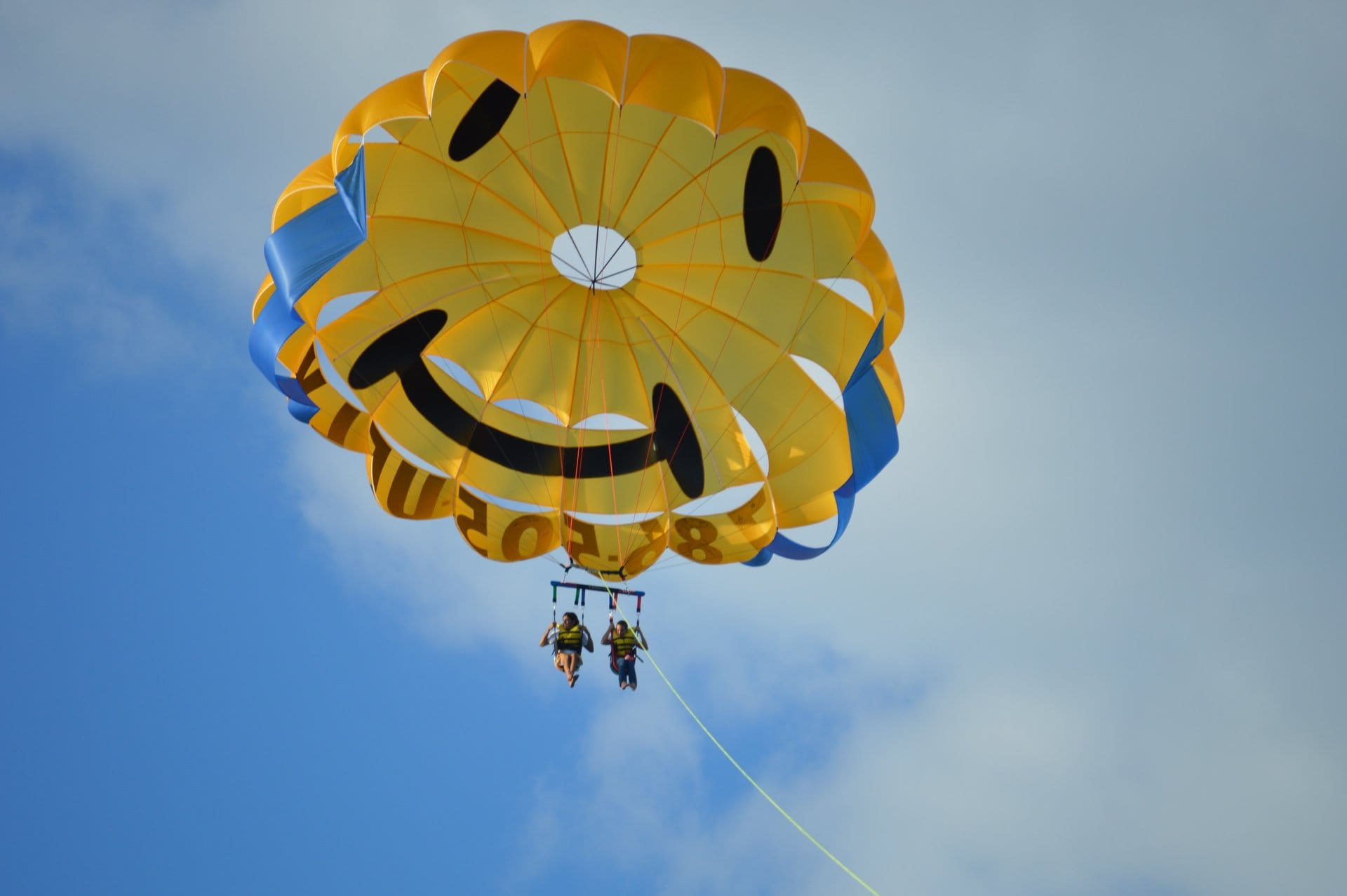 Parasail parachute with Miami Watersports smiley face