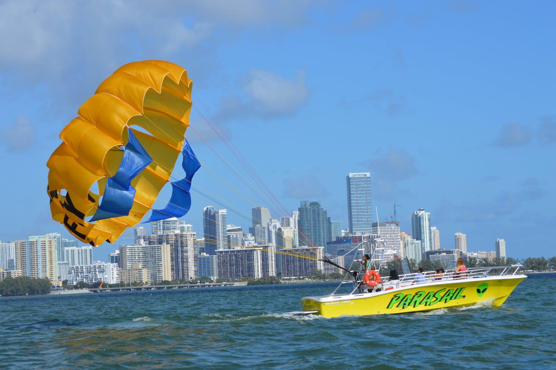 Parasailing boat flying Parachute